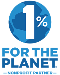 """TEXT """"1% for the Planet, Nonprofit Partner. Logo has a 1% over a blue globe."""