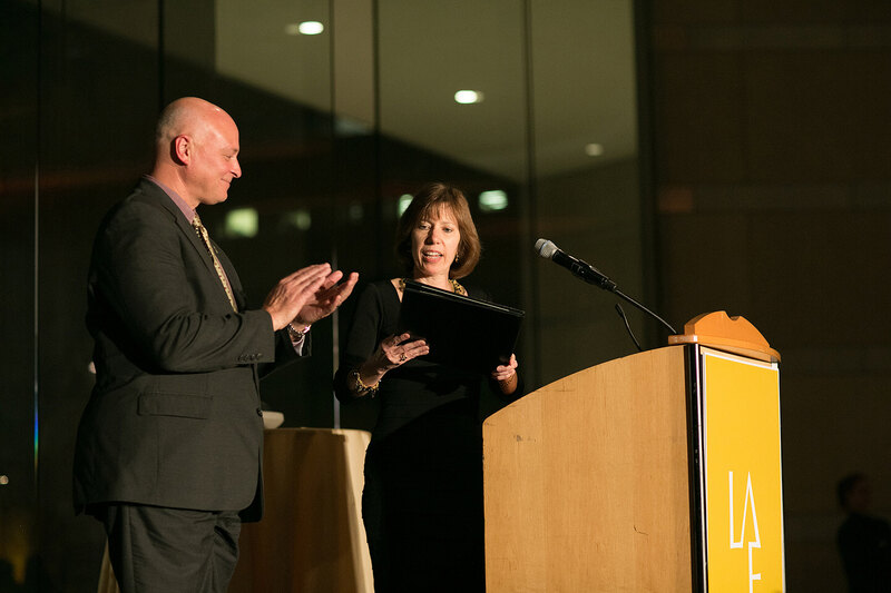 ASLA's CEO Nancy Somerville and President Chad Danos deliver a Philadelphia-style proclamation.