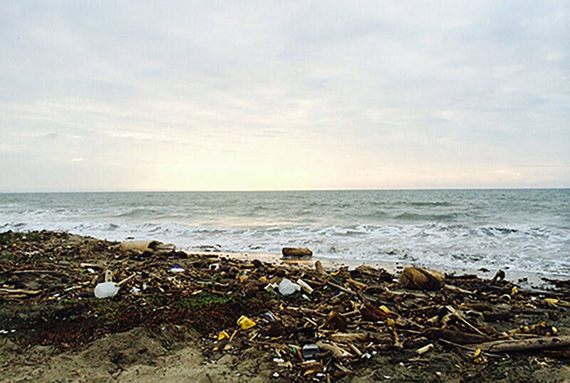 A shoreline covered with refuse
