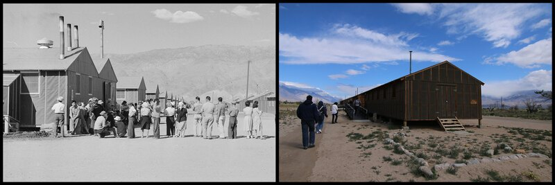 The Manzanar barracks in 1942 and 2016