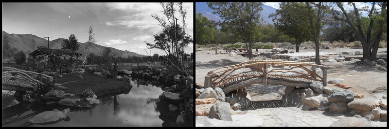 The park in Manzanar Relocation Center in 1943 and 2015