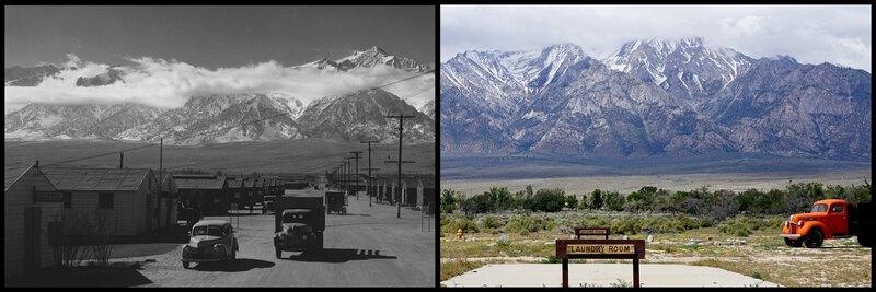 Manzanar street scene in 1943 and 2016
