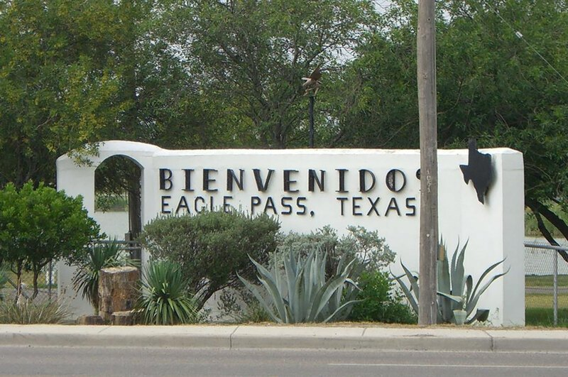 A welcome sign in Eagle Pass, Texas