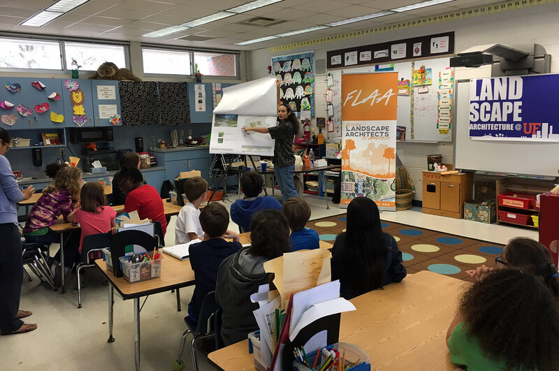 Nathania teaches elementary students about landscape architecture