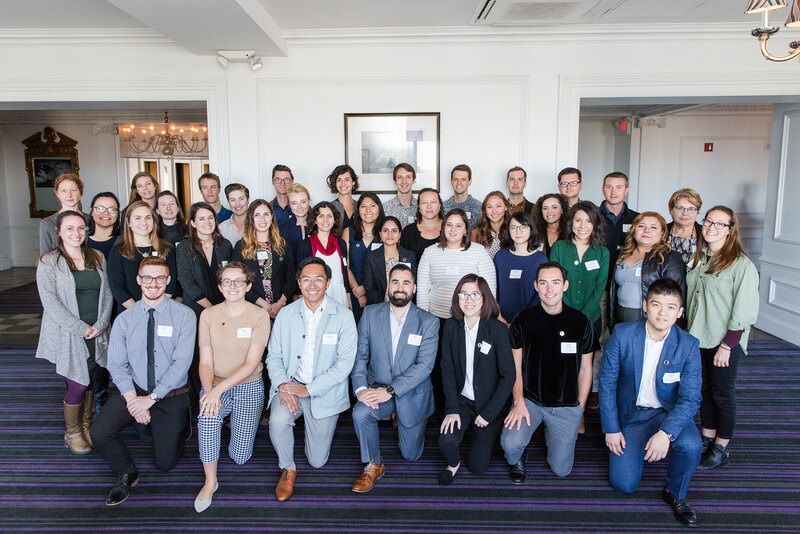 40 of the landscape architects recognized at 2018 Olmsted Scholars pose for a group photo in Philadelphia