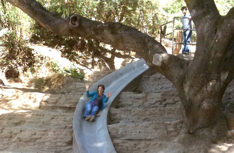 Andrea Gaffney rides down a slide that wraps around a large tree while another person looks on