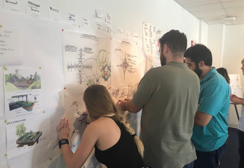 Xtreme LA participants post ideas to a studio wall and talk with one another