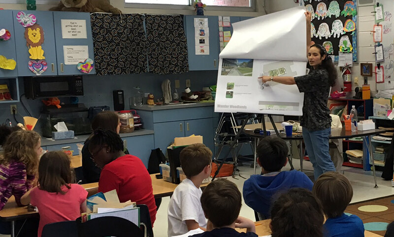 LAF Olmsted Scholar Nathania presents to a K-12 classroom
