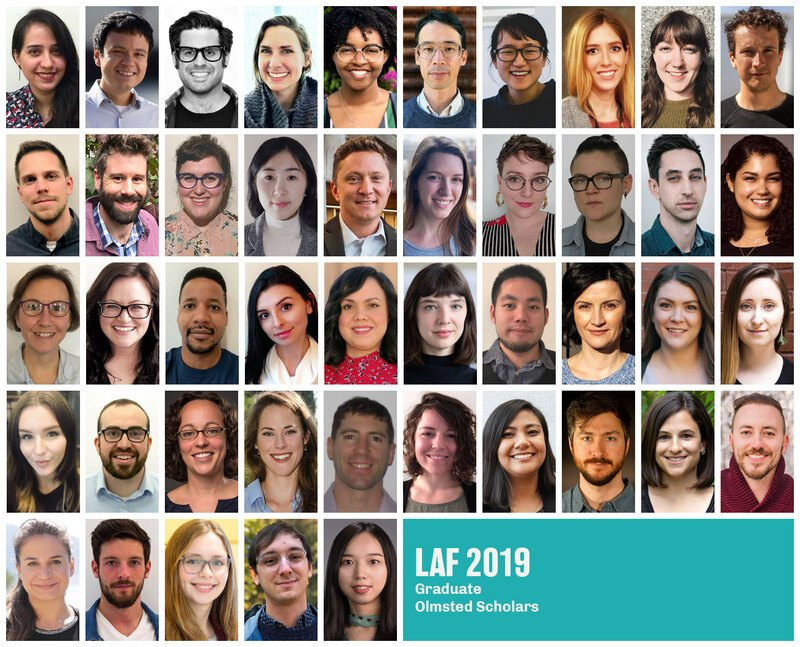 Grid with headshots of the 45 graduate 2019 LAF Olmsted Scholars