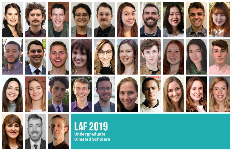 Grid with headshots of the 33 undergraduate 2019 LAF Olmsted Scholars