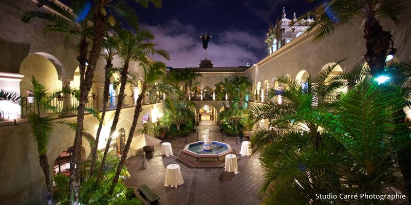 Courtyard of The Prado at night