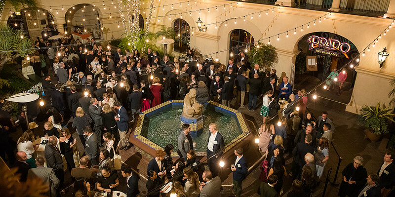 Guests around the courtyard fountain at LAF's 34th Annual Benefit