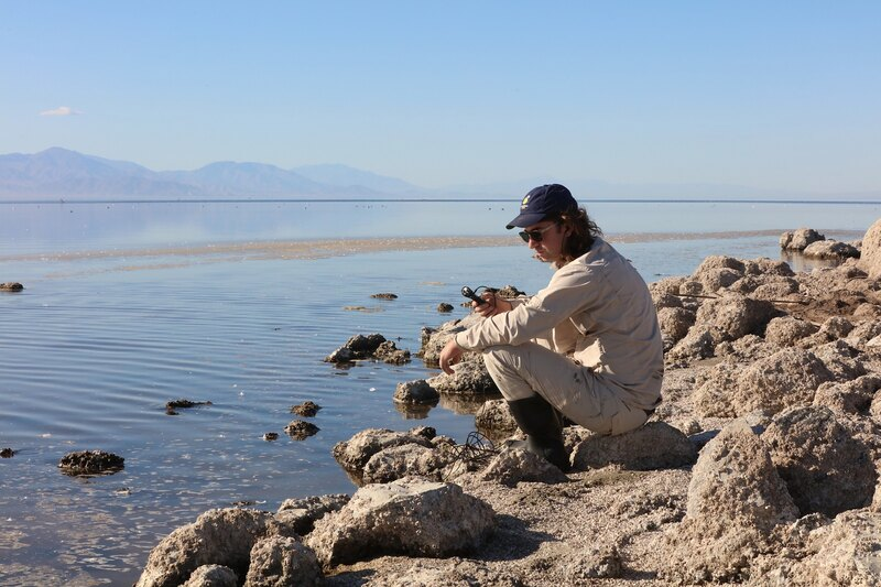 Hans Baumann recording sounds at the edge of the Salton Sea