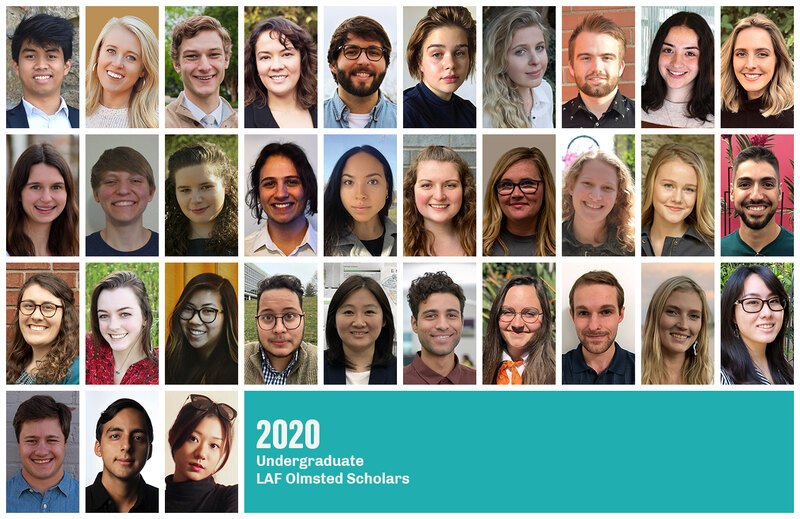 Grid of headshots of the 2020 Undergraduate LAF Olmsted Scholars