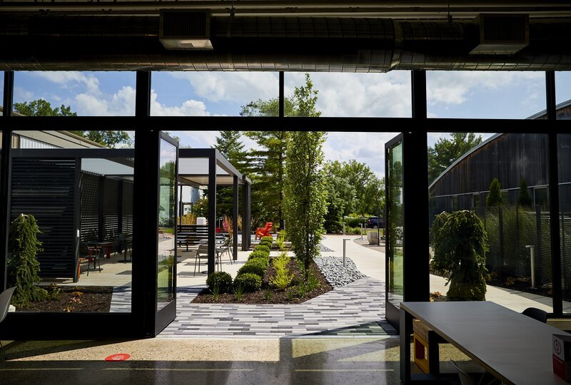 Outdoor space at Landscape Forms' Kalamazoo, MI headquarters