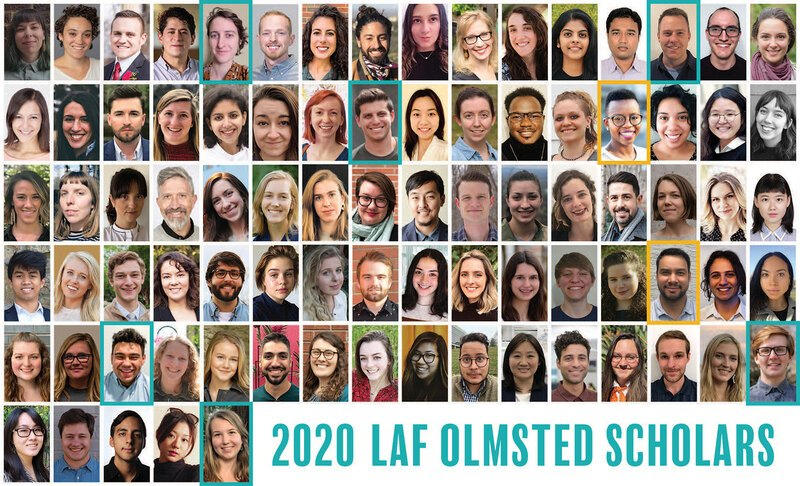 Grid of 85 headshots of each of the 2020 LAF Olmsted Scholars
