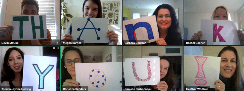 """LAF Staff spell out """"Thank You!"""" on a virtual meeting"""