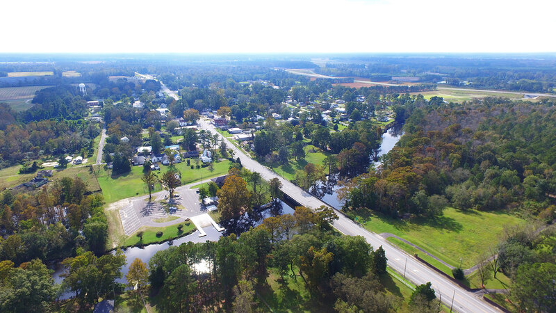 Aerial image of Princeville, NC a rural community
