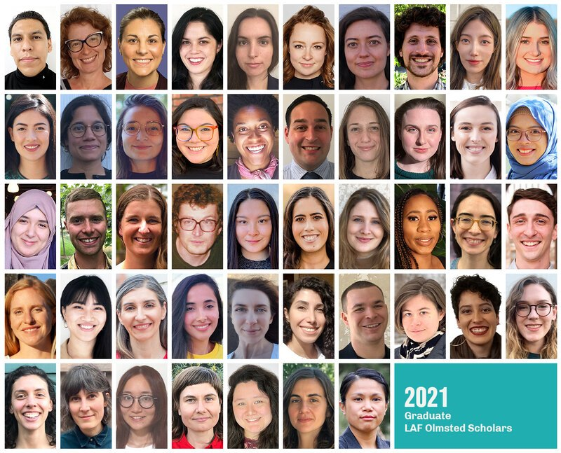 Grid of headshots of the 2021 Graduate LAF Olmsted Scholars