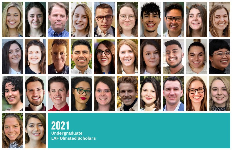 Grid of headshots of the 2021 Undergraduate LAF Olmsted Scholars