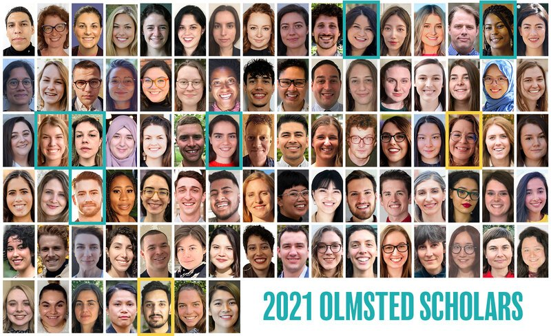 Grid of 87 headshots of each of the 2021 LAF Olmsted Scholars