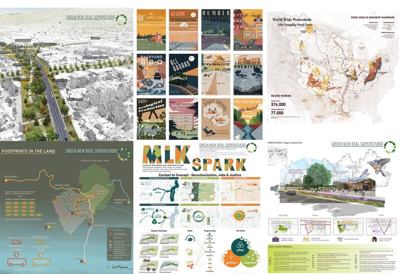 Images from 6 of the Superstudio projects showing maps, diagrams, and visualizations