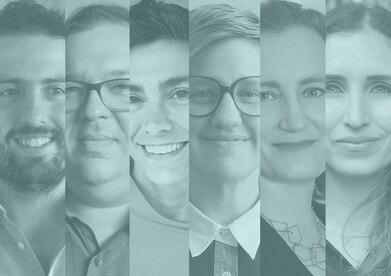 A graphic treatment with headshots of the six people selected for the 2020-2021 fellowship
