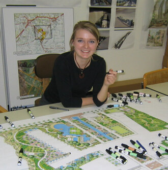 A scholarship winner with a site plan