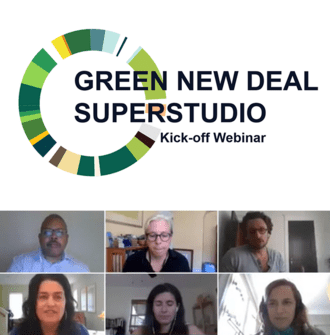Green New Deal Superstudio Kickoff Webinar text and thumbnail images of presenters