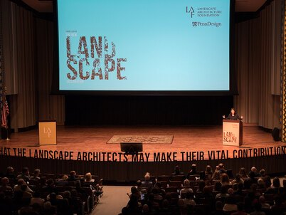 LAF's Barbara Deutsch welcomes over 700 attendees to the Summit on Landscape Architecture and the Future