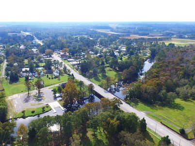 Aerial image of Princeville, NC, a rural community