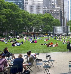 People outside in Bryant Park in New York City
