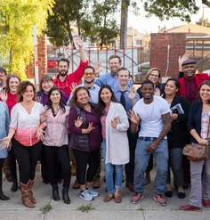 A diverse group of people who participated in Mithun's Resilient by Design Bay Area Challenge project