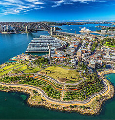 An aerial image of PWP's Barangaroo Preserve after completion in 2015
