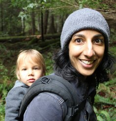 An image of Vinita Sidhu hiking with one of her children