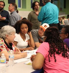 Diverse residents discuss issues at a Patterson Park Community Meeting