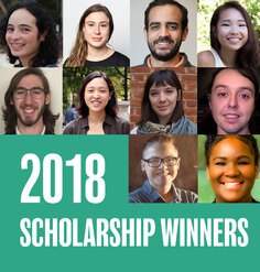 "A headshot grid of the 2018 LAF scholarship winners and the text ""2018 SCHOLARSHIP WINNERS"""
