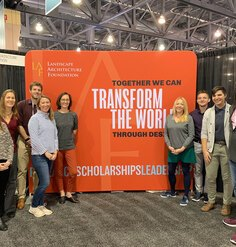 LAF staff, Board Member Rebecca Bradley, and Board Emeritus Kona Gray pose in front of the LAF booth at ASLA 2018