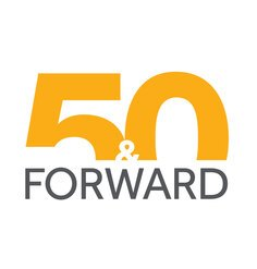 Logo text saying 50 & Forward