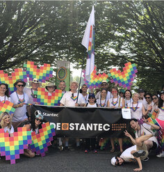 Stantec employees pose at an LGBTQ Pride celebration