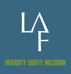 "The LAF logo in white on a dark blue background with green text below ""DIVERSITY EQUITY INCLUSION"""