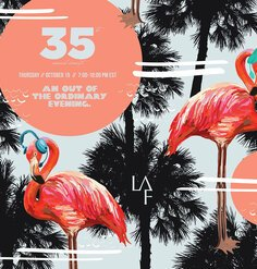 Ridiculous graphic with flamingos and palm trees