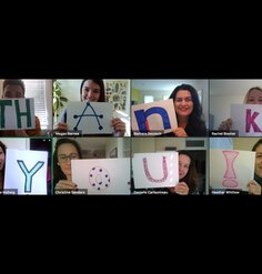 "LAF Staff spells out ""Thank You"" via virtual conferencing"