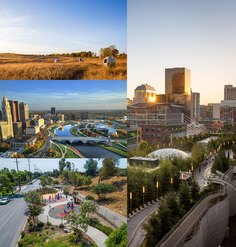 A collage of five landscape projects selected for the 2021 CSI program